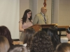Sophomore Madison Meyer speaks during the Foreign Language Honors Society inductions.