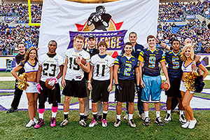 Lewis, Martin, and Markley participate in Ravens Quarterback Challenge